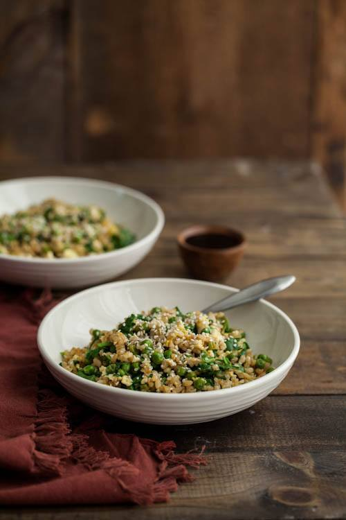 Spinach and Pea Fried Rice Bowl