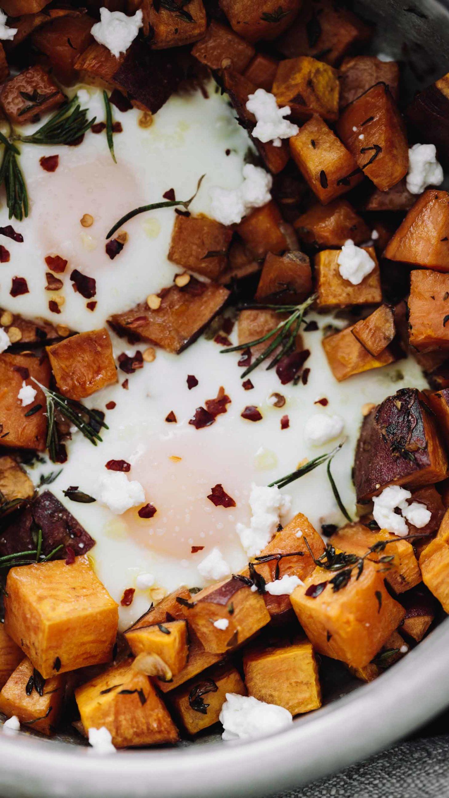 Roasted Sweet Potatoes Gorgonzola And Baked Eggs