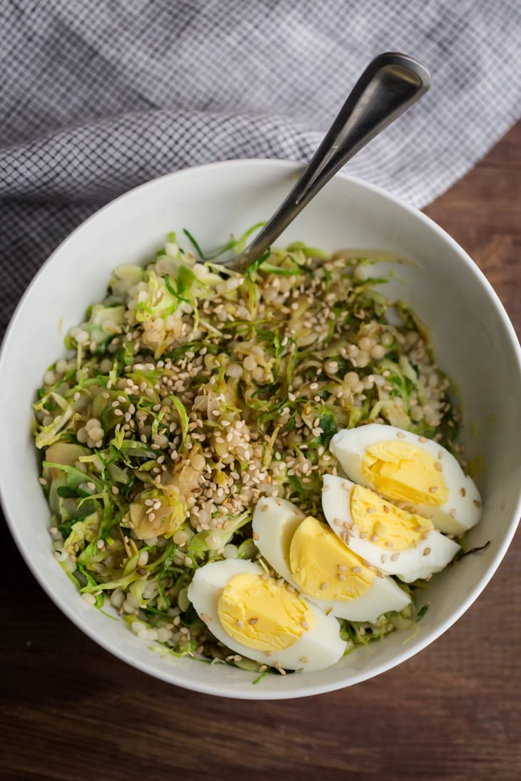 Hard Boiled Egg And Brussels Sprout Bowl Naturally