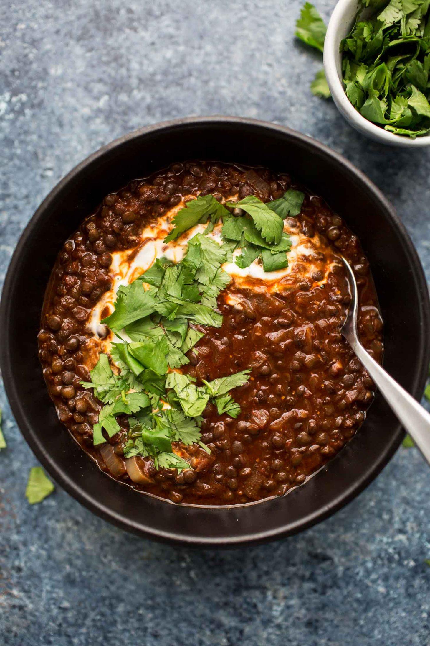 Berbere Black Lentil Stew With Yogurt And Cilantro Naturally Ella