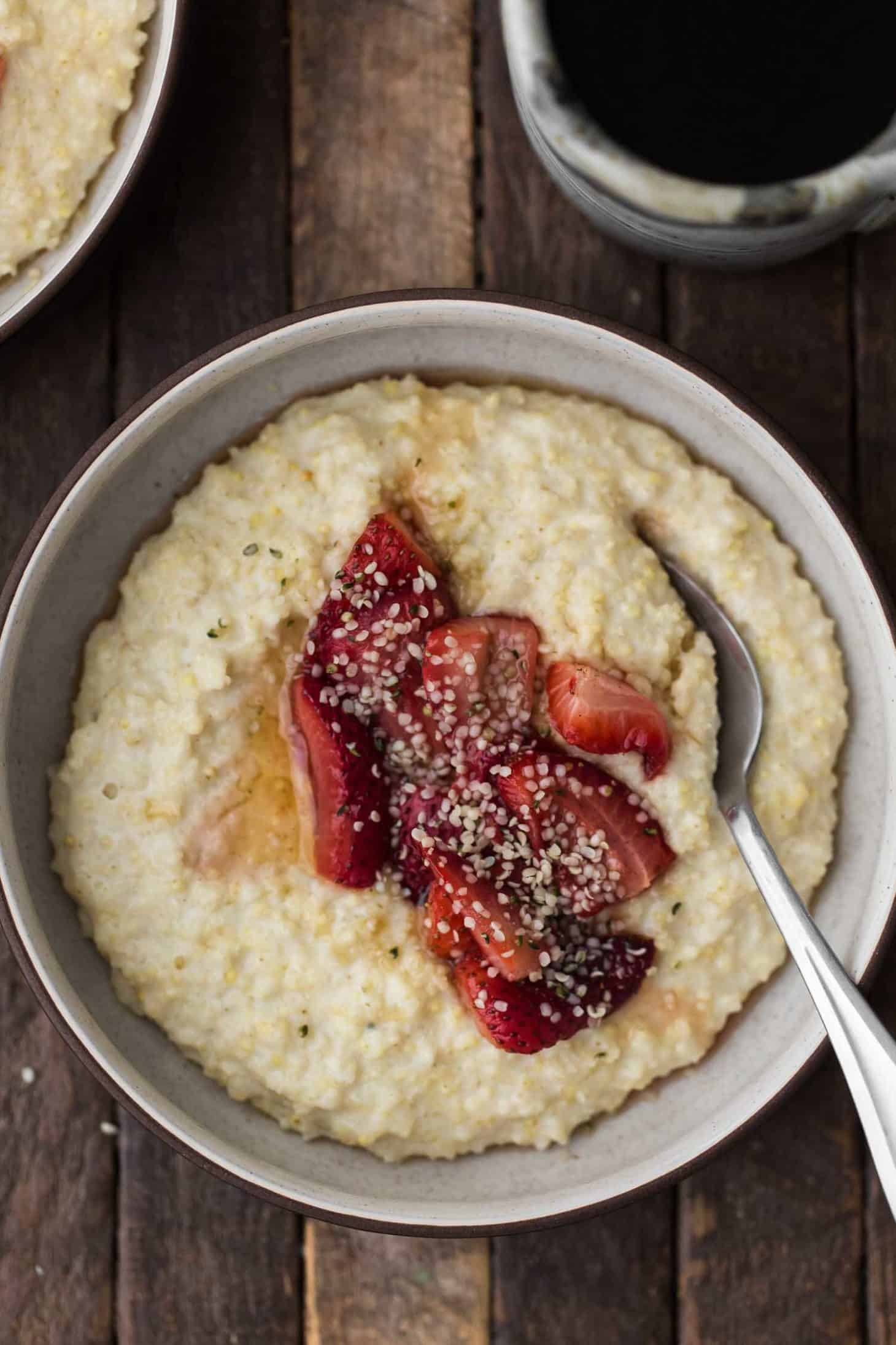 Creamy Millet Porridge With Roasted Strawberries Naturally Ella