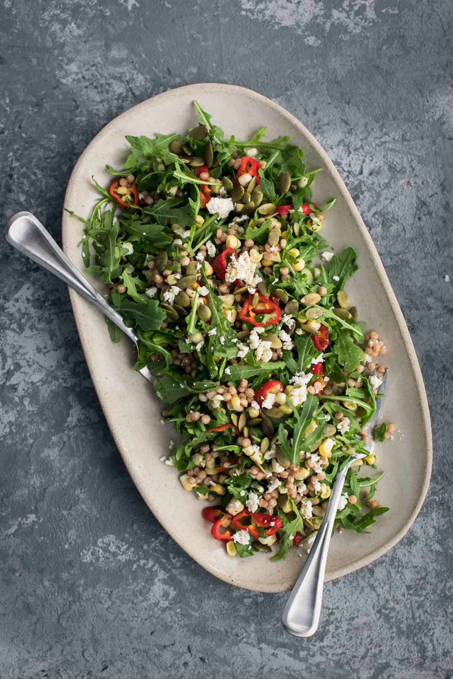 Sweet Corn Couscous Salad With Arugula Naturally