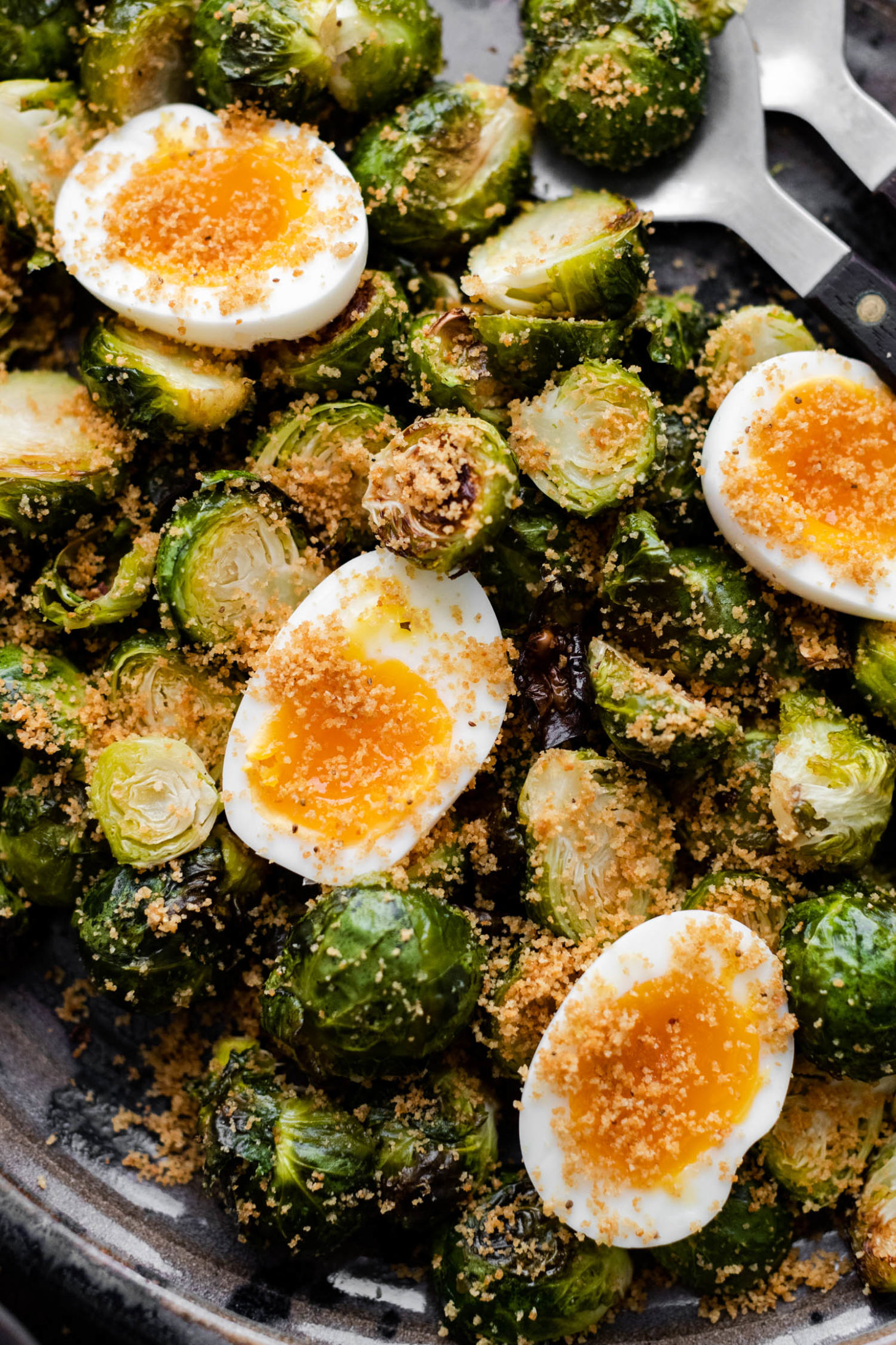 Oven Roasted Brussels Sprouts With Jammy Eggs Naturally