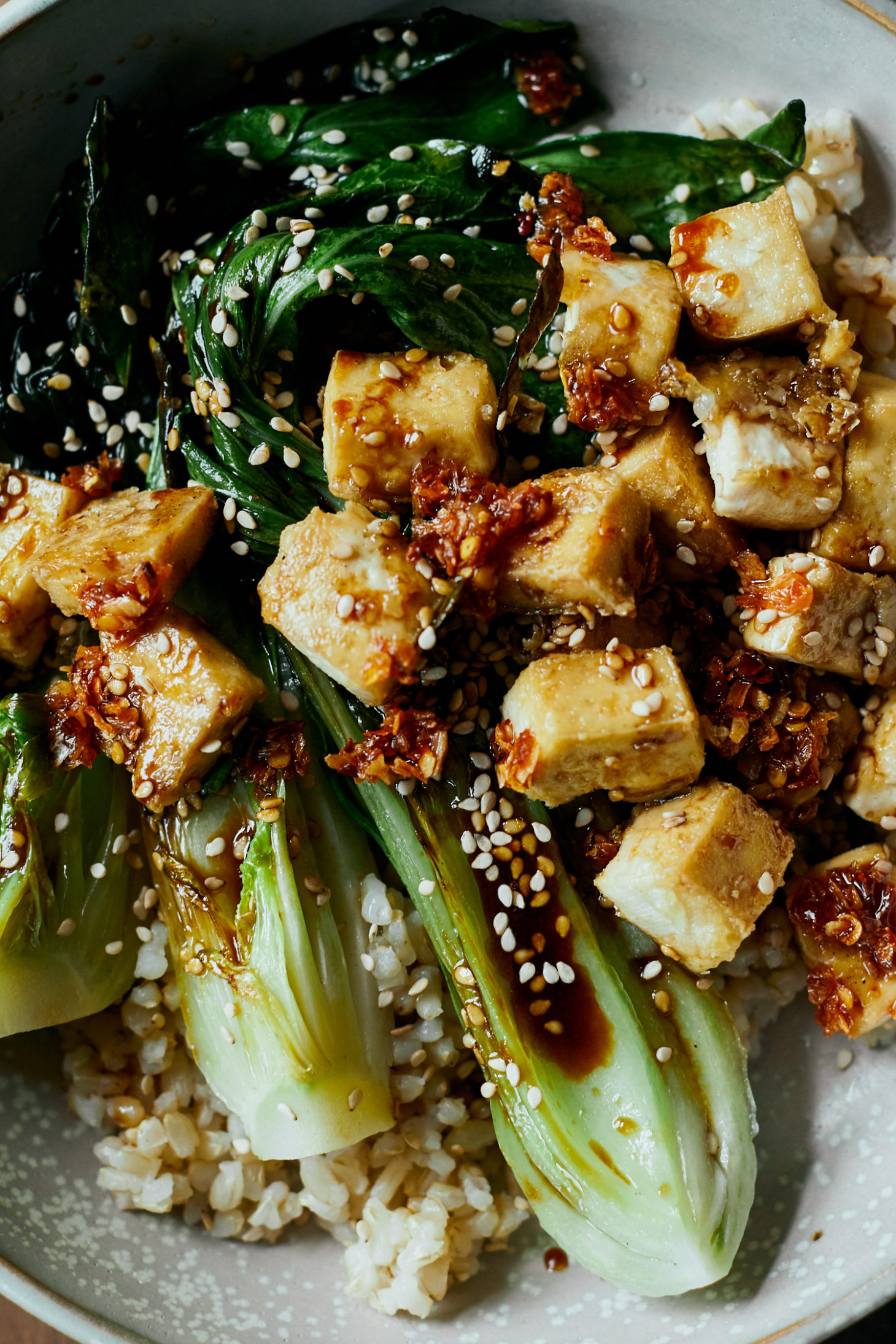 Crispy Tofu Bowls With Sesame Bok Choy Naturally